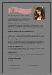 English Worksheets: MILEY CYRUS INTERVIEW!