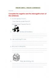 English worksheet: PRESENT SIMPLE/CONTINUOUS