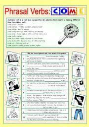 English Worksheets: Phrasal Verbs (3/10): COME