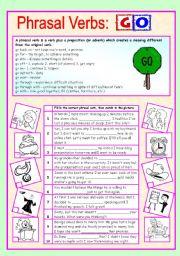 English Worksheets: Phrasal verbs (4/10): GO