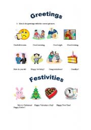 English Worksheets: Greetings and Festivities