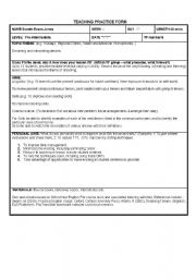 English Worksheet: Teaching Practice Form for CELTA course (lower intermediate class)