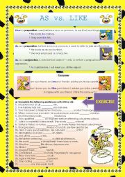 English Worksheets: CONFUSABLES: AS - LIKE