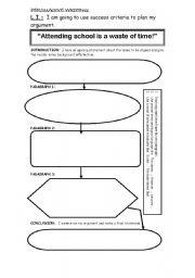 English Worksheet: Persuasive writing plan - organisor