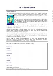 English Worksheets: 13 first American colonies 1/2