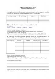English Worksheets: the 13 American colonies 2/2