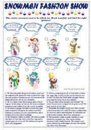 English Worksheet: Snowmen Fashion Show