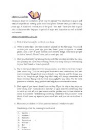 English Worksheets: keeping diaries