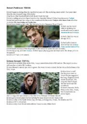 English Worksheets: TRIVIA ABOUT ROBERT PATTISON AND KRISTEN STEWART