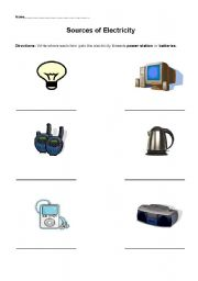 English Worksheet: Sources of Electricity