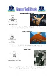 English Worksheet: Guinness world records