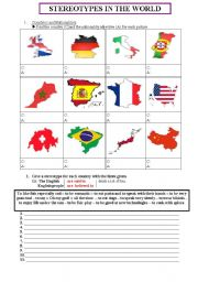English Worksheet: Stereotypes in the World