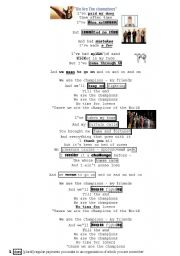 English Worksheet: Song We are The Champions (Queen) ENJOY !
