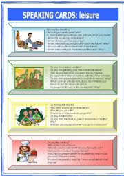 English Worksheet: Speaking Cards: leisure (1 of  2)