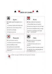 english worksheets deck of cards speaking activity. Black Bedroom Furniture Sets. Home Design Ideas