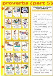 English Worksheet: PROVERBS - PART 5