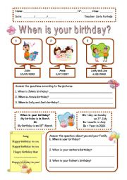 when is your birthday worksheets. Black Bedroom Furniture Sets. Home Design Ideas