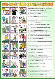 English Worksheet: WH-QUESTIONS -EXTRA EXERCISES (B&W VERSION INCLUDED)