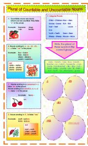 English Worksheets: PLURAL OF COUNTABLE AND UNCOUNTABLE NOUNS