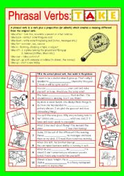 English Worksheet: Phrasal Verbs (6/10): TAKE