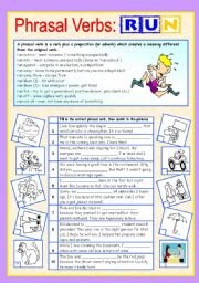 English Worksheets: Phrasal verbs (5/10): RUN