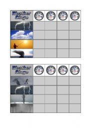 English Worksheet: Weather Bingo - Part 1 of 3