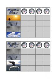 English Worksheet: Weather Bingo - Part 2 of 3