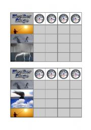 English Worksheet: Weather Bingo - Part 3 of 3