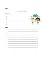 English worksheets Recipe for Friendship Graphic Organizer