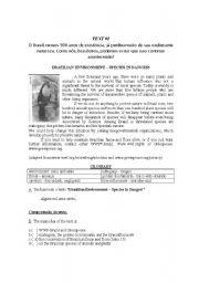 English worksheet: Brazilian enviroment