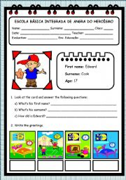 English Worksheets: PERSONAL INFORMATION (ELEMENTARY) - 4 PAGES