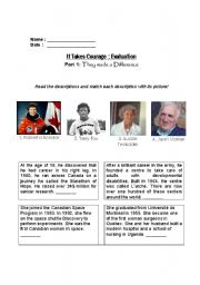 English Worksheet: Heroes: People who made a difference reading activity