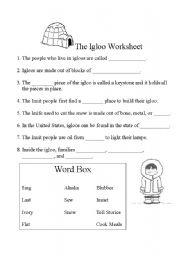 English Worksheets: Igloo Worksheet