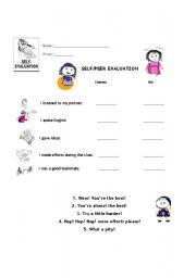 English Worksheet: Peer and self evaluation