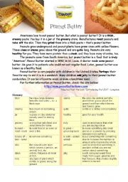 English Worksheets: Peanut Butter - One of American�s habits