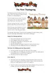 English Worksheet: THE FIRST THANKSGIVING CELEBRATION