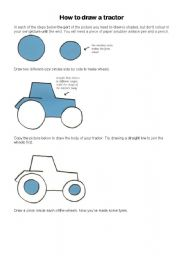 English Worksheets: How to draw a tractor in Windows Paint