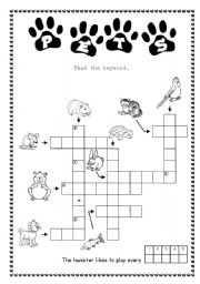 English Worksheets: Crosswordpuzzle with riddle - PETS