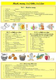 English Worksheet: Much, many,(a) little, (a) few