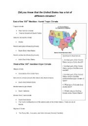 English worksheets: U.S. Climate