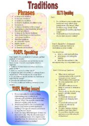 English Worksheets: Traditions (Part 1/3). Prepare for Exams: IELTS and TOEFL