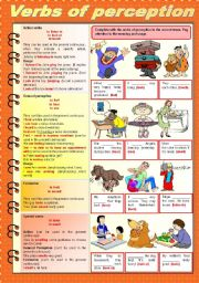 English Worksheet: Verbs of perception (fully editable)