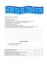 English Worksheets: the british  political sistem