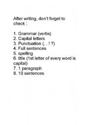 English Worksheets: Post Writing Checklist