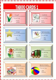 English Worksheets: taboo cards1