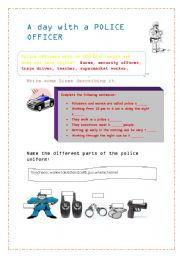 English Worksheets: a day with a police officer