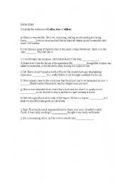 English Worksheets: ALSO, TOO AND EITHER