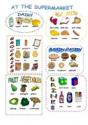 English Worksheet: At the supermarket food pictionary