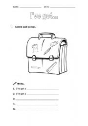 English Worksheets: I�ve got (class objects)