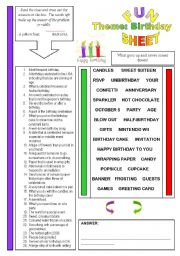 English Worksheet: Fun Sheet Theme: Birthday